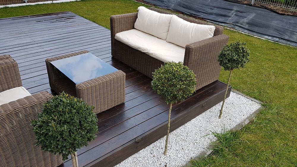 rattan garden bench